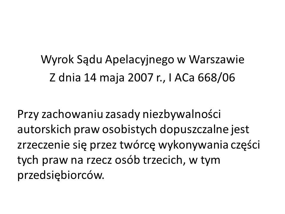 Wyrok Sądu Apelacyjnego w Warszawie Z dnia 14 maja 2007 r