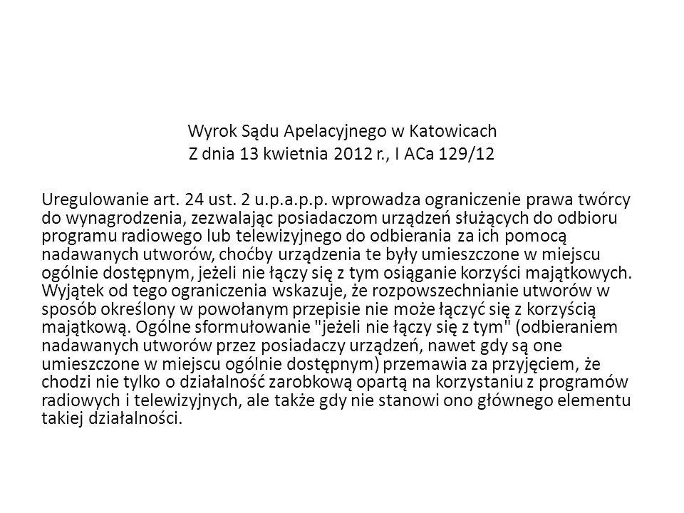 Wyrok Sądu Apelacyjnego w Katowicach Z dnia 13 kwietnia 2012 r