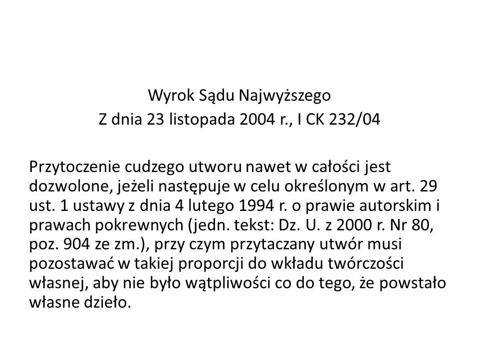 Wyrok Sądu Najwyższego Z dnia 23 listopada 2004 r