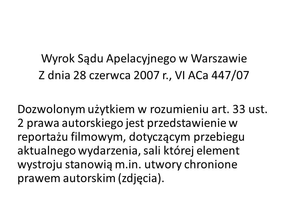 Wyrok Sądu Apelacyjnego w Warszawie Z dnia 28 czerwca 2007 r