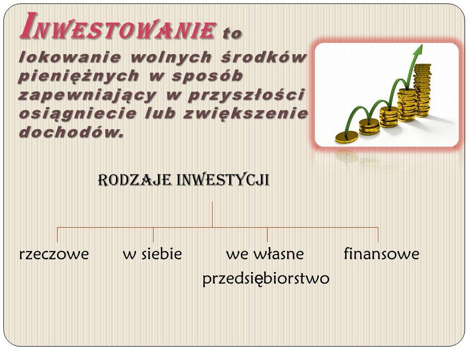 Inwestowanie to lokowanie wolnych środków pieniężnych w sposób zapewniający w przyszłości osiągniecie lub zwiększenie dochodów.