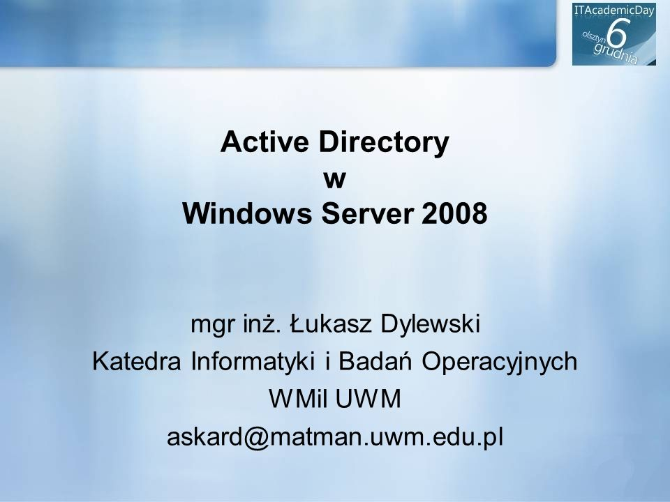 Active Directory w Windows Server 2008