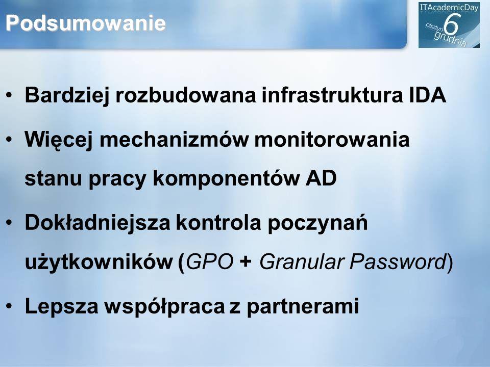 PodsumowanieBardziej rozbudowana infrastruktura IDA. Więcej mechanizmów monitorowania stanu pracy komponentów AD.