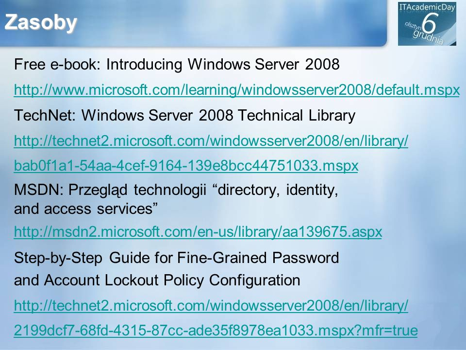 Zasoby Free e-book: Introducing Windows Server 2008