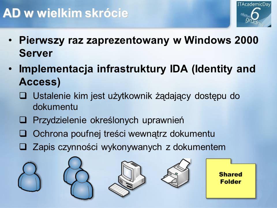 AD w wielkim skrócie Pierwszy raz zaprezentowany w Windows 2000 Server