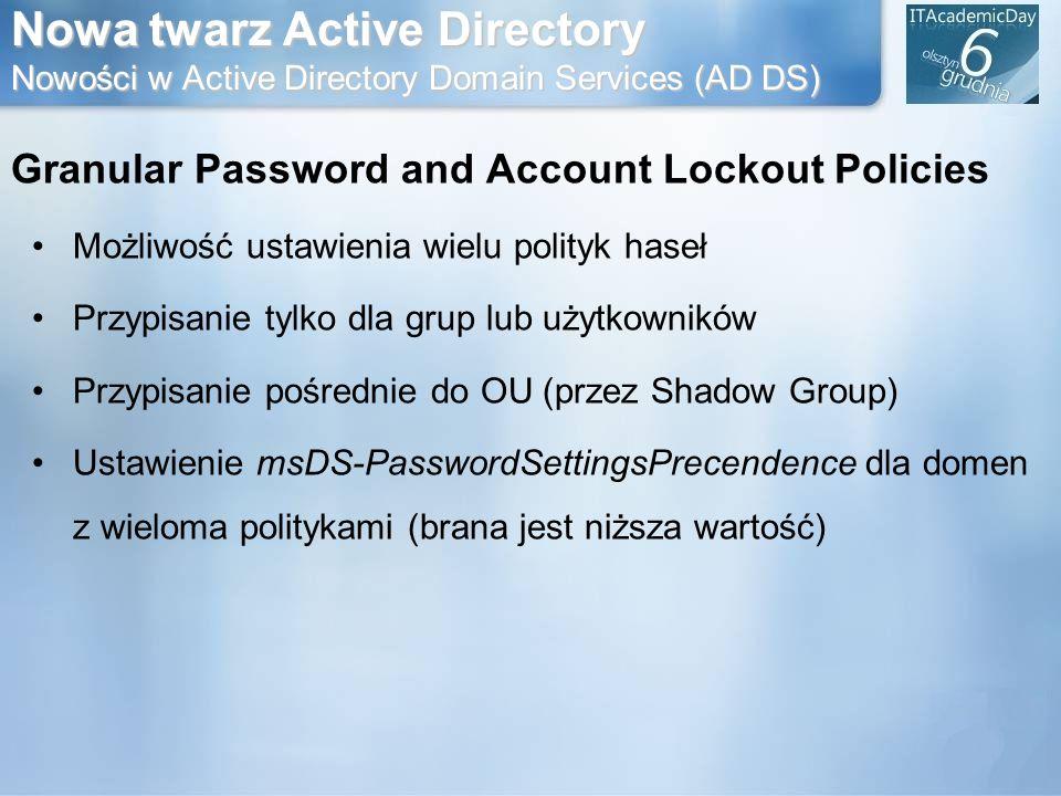 Nowa twarz Active Directory Nowości w Active Directory Domain Services (AD DS)