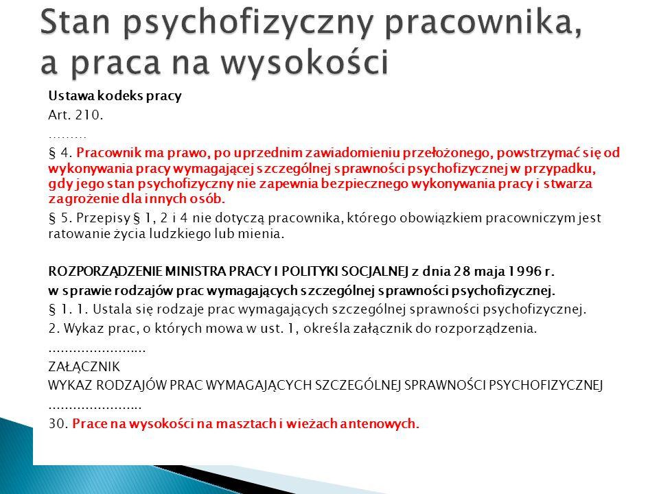 Stan psychofizyczny pracownika, a praca na wysokości