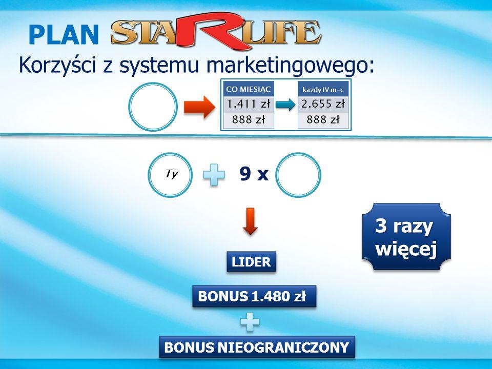 PLAN Korzyści z systemu marketingowego: 9 x 3 razy więcej