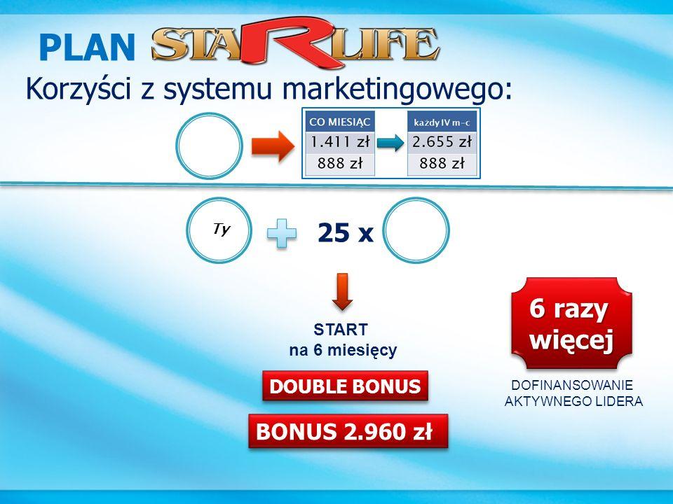 PLAN Korzyści z systemu marketingowego: 25 x 6 razy więcej