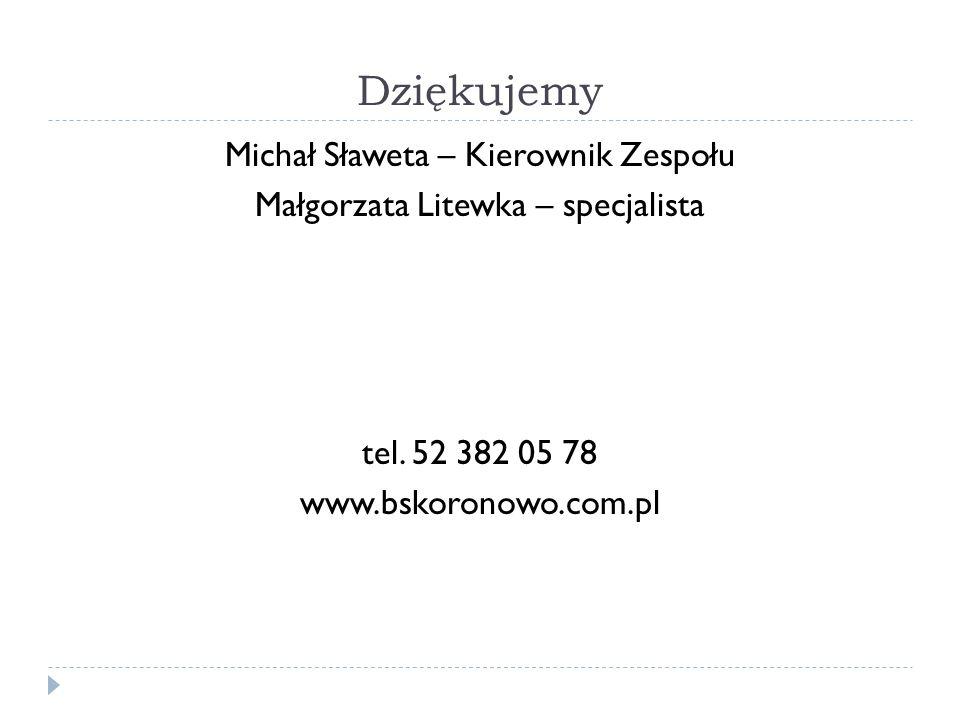 Dziękujemy Michał Sławeta – Kierownik Zespołu