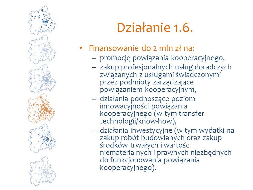 Działanie 1.6. Finansowanie do 2 mln zł na: