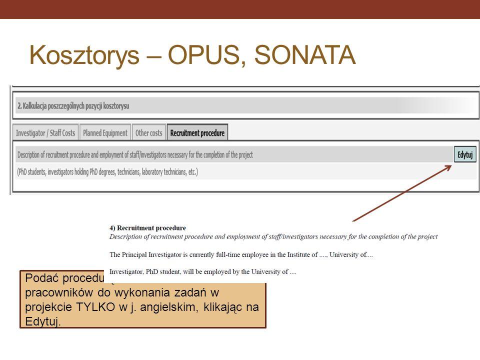 Kosztorys – OPUS, SONATA