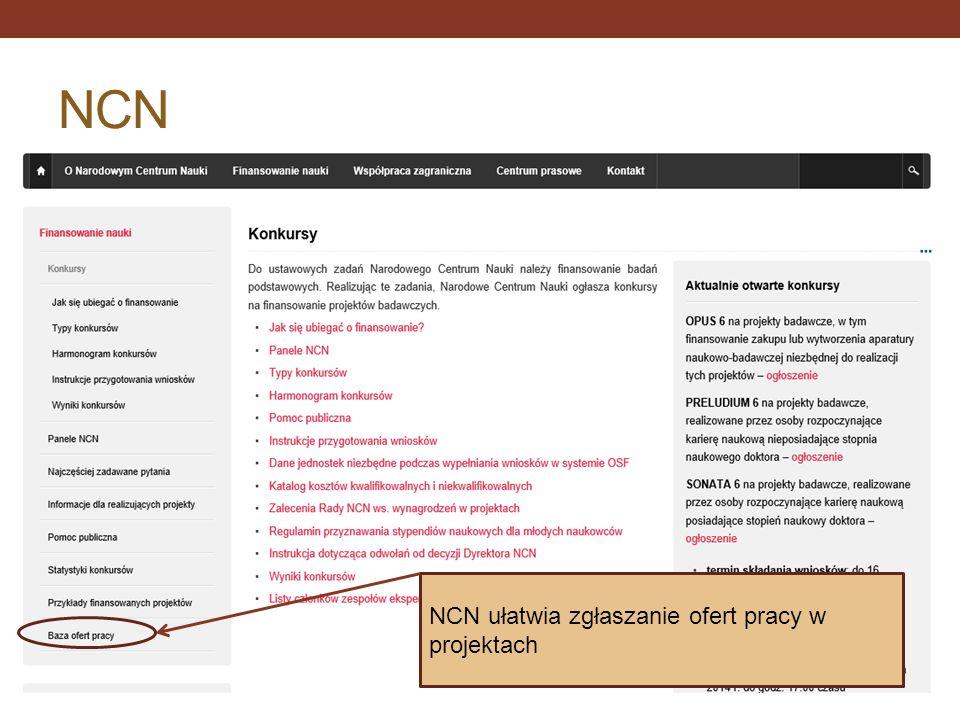 NCN NCN ułatwia zgłaszanie ofert pracy w projektach