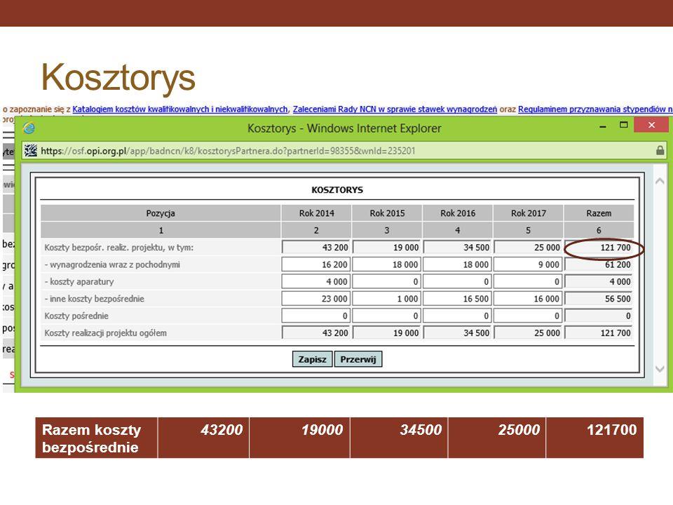 Kosztorys Razem koszty bezpośrednie 43200 19000 34500 25000 121700