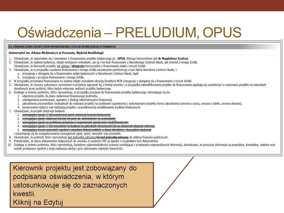 Oświadczenia – PRELUDIUM, OPUS