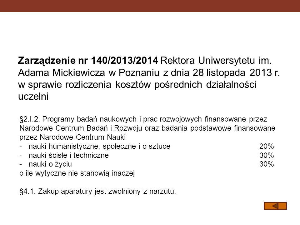Zarządzenie nr 140/2013/2014 Rektora Uniwersytetu im