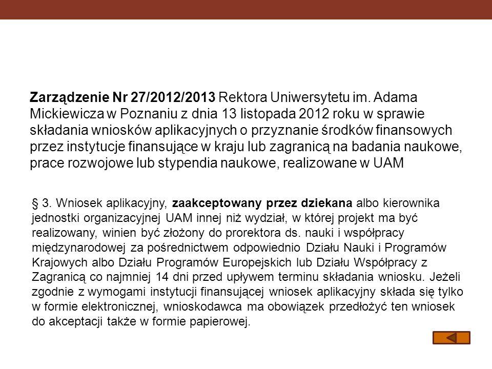 Zarządzenie Nr 27/2012/2013 Rektora Uniwersytetu im
