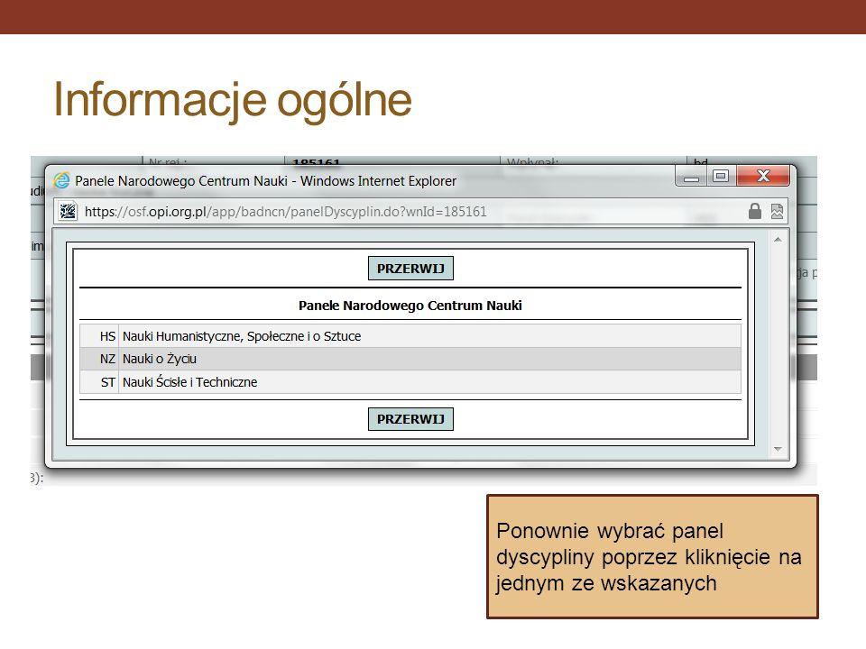 Informacje ogólne Ponownie wybrać panel dyscypliny poprzez kliknięcie na jednym ze wskazanych