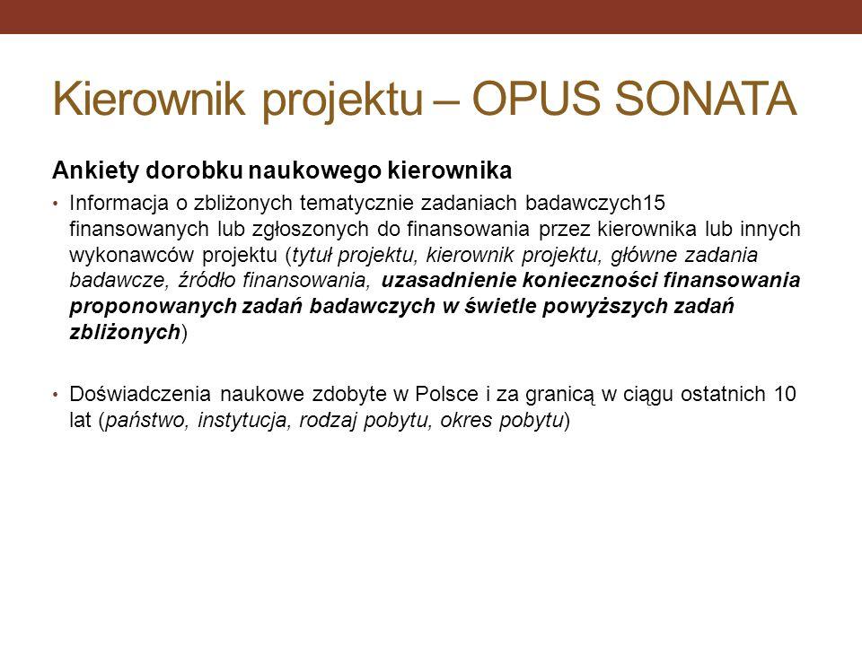 Kierownik projektu – OPUS SONATA