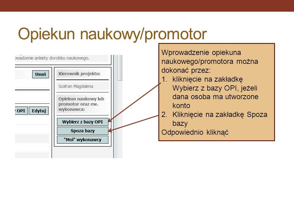 Opiekun naukowy/promotor