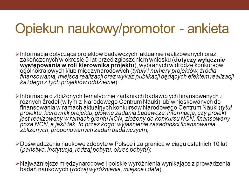 Opiekun naukowy/promotor - ankieta