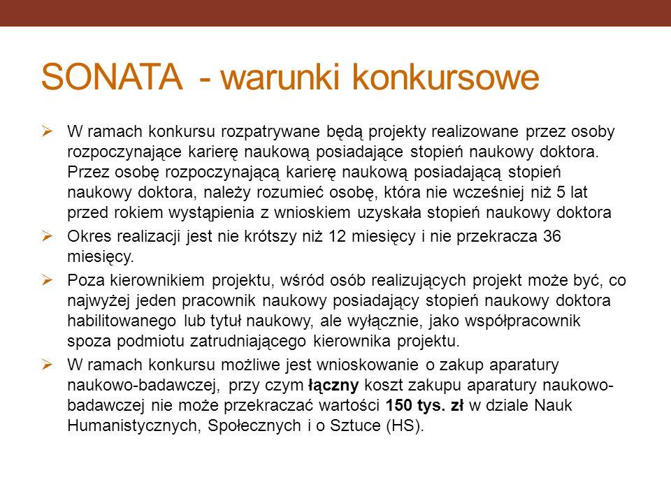 SONATA - warunki konkursowe