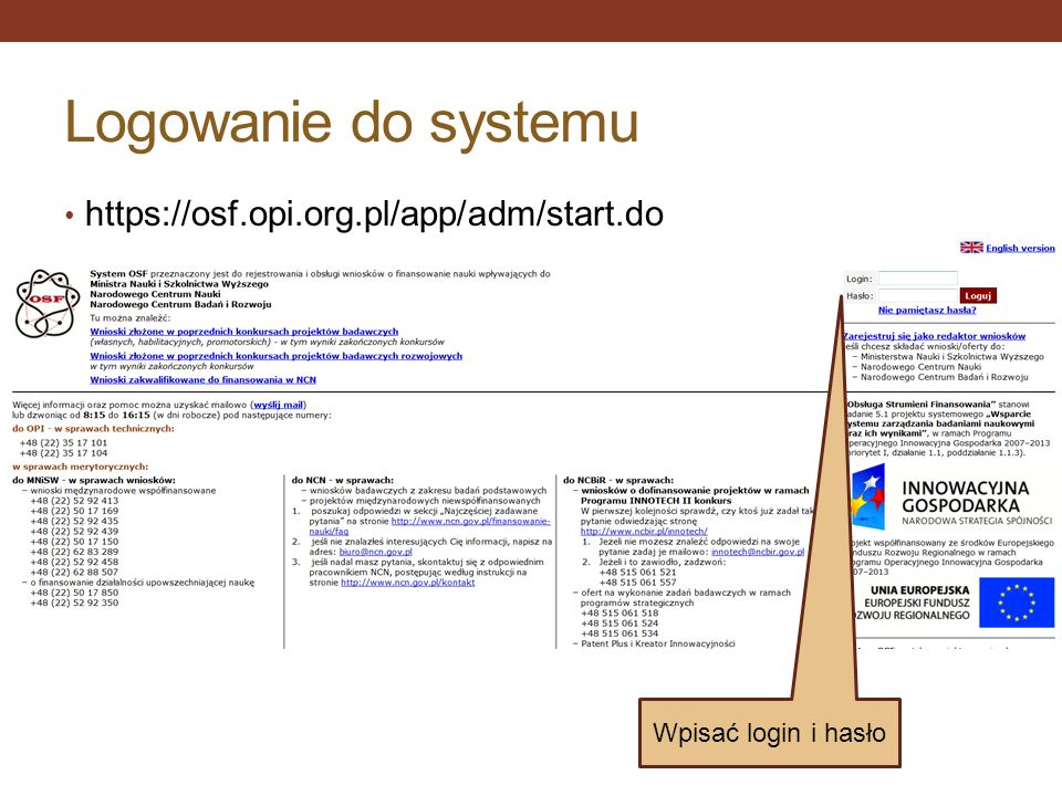 Logowanie do systemu https://osf.opi.org.pl/app/adm/start.do