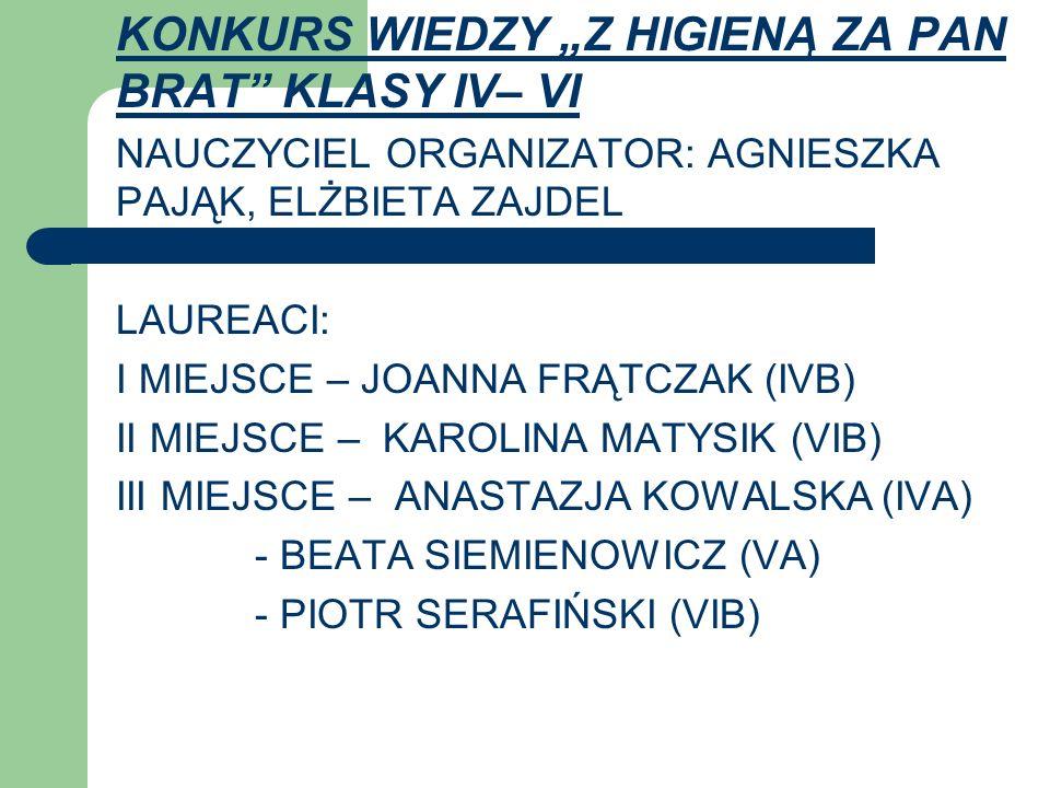 """KONKURS WIEDZY """"Z HIGIENĄ ZA PAN BRAT KLASY IV– VI"""