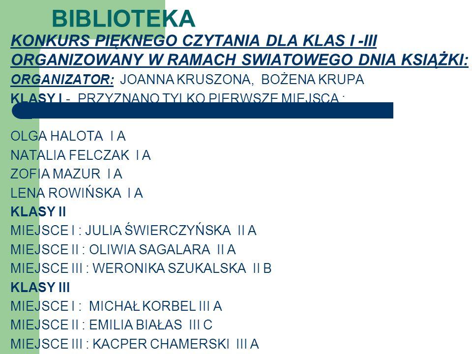BIBLIOTEKAKONKURS PIĘKNEGO CZYTANIA DLA KLAS I -III ORGANIZOWANY W RAMACH SWIATOWEGO DNIA KSIĄŻKI: ORGANIZATOR: JOANNA KRUSZONA, BOŻENA KRUPA