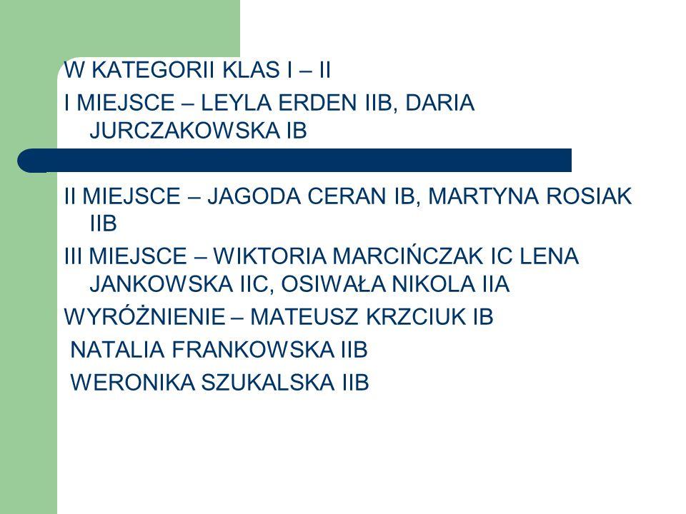 W KATEGORII KLAS I – II I MIEJSCE – LEYLA ERDEN IIB, DARIA JURCZAKOWSKA IB. II MIEJSCE – JAGODA CERAN IB, MARTYNA ROSIAK IIB.