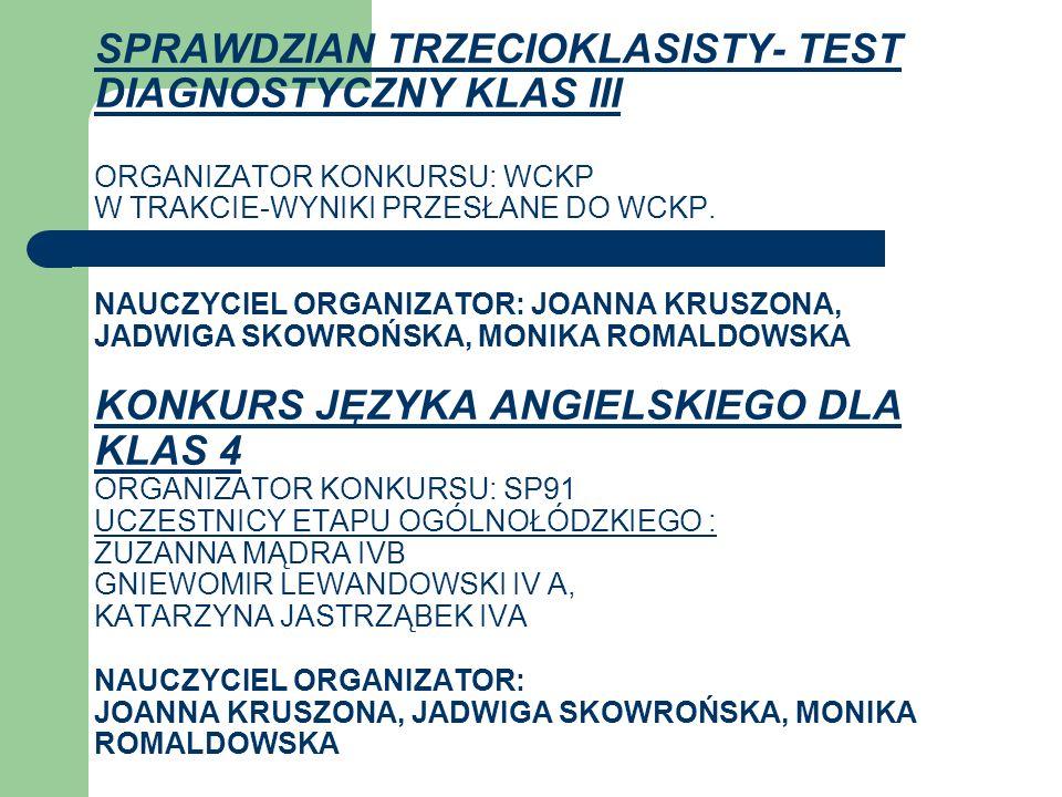 SPRAWDZIAN TRZECIOKLASISTY- TEST DIAGNOSTYCZNY KLAS III ORGANIZATOR KONKURSU: WCKP W TRAKCIE-WYNIKI PRZESŁANE DO WCKP.