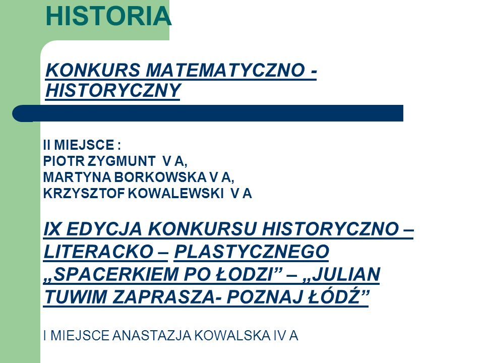 HISTORIA KONKURS MATEMATYCZNO - HISTORYCZNY