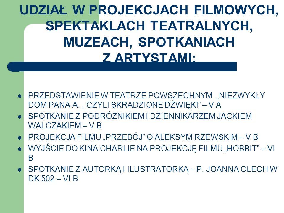 UDZIAŁ W PROJEKCJACH FILMOWYCH, SPEKTAKLACH TEATRALNYCH, MUZEACH, SPOTKANIACH Z ARTYSTAMI: