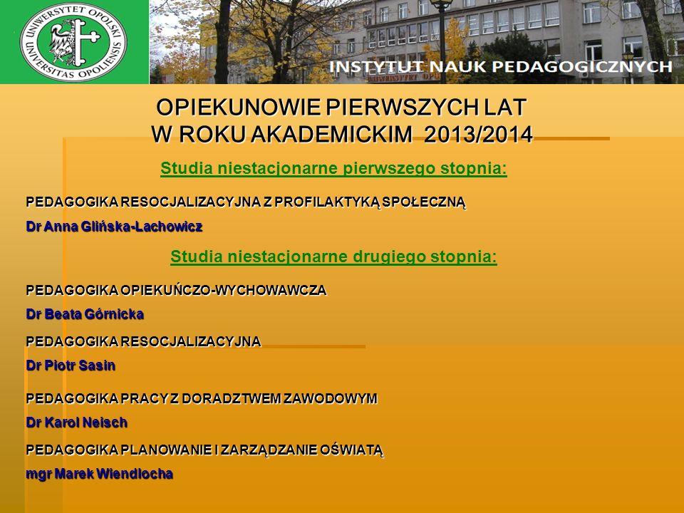 OPIEKUNOWIE PIERWSZYCH LAT W ROKU AKADEMICKIM 2013/2014