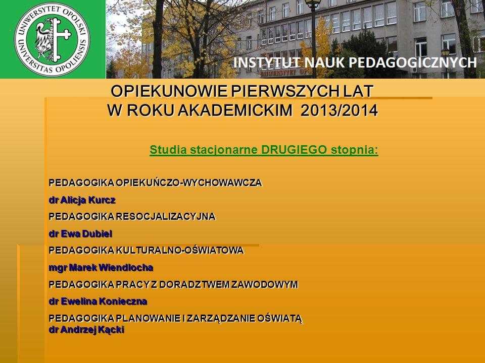 OPIEKUNOWIE PIERWSZYCH LAT Studia stacjonarne DRUGIEGO stopnia: