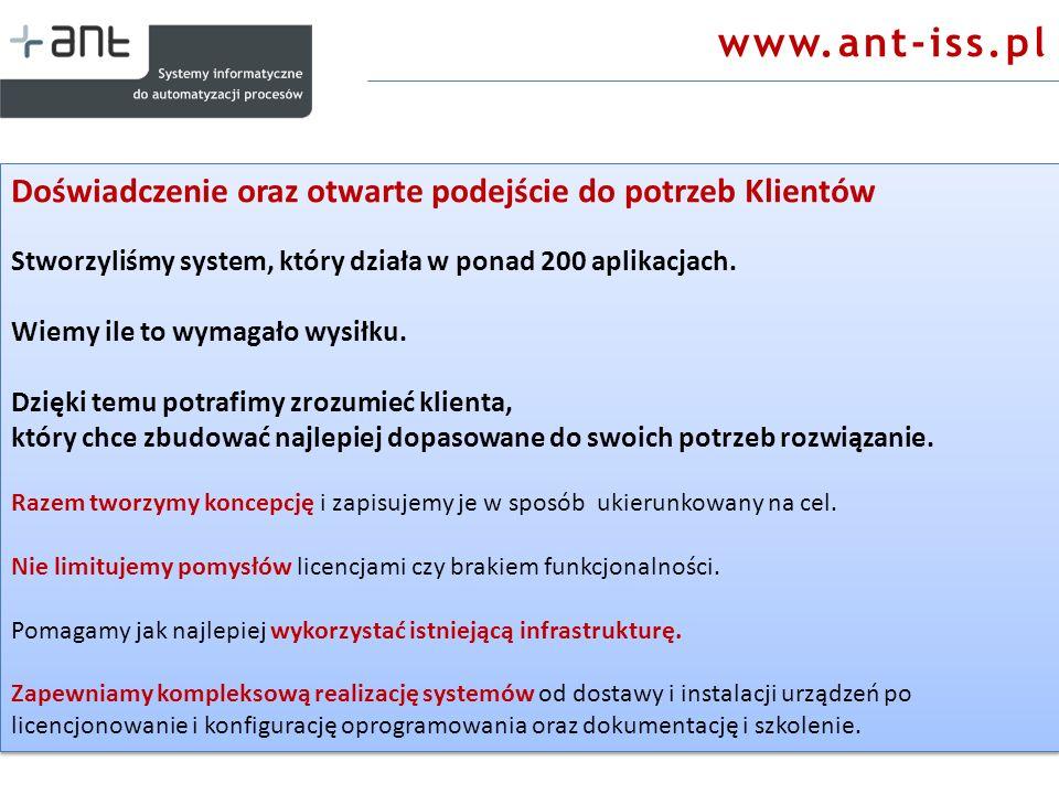 www.ant-iss.pl Doświadczenie oraz otwarte podejście do potrzeb Klientów. Stworzyliśmy system, który działa w ponad 200 aplikacjach.