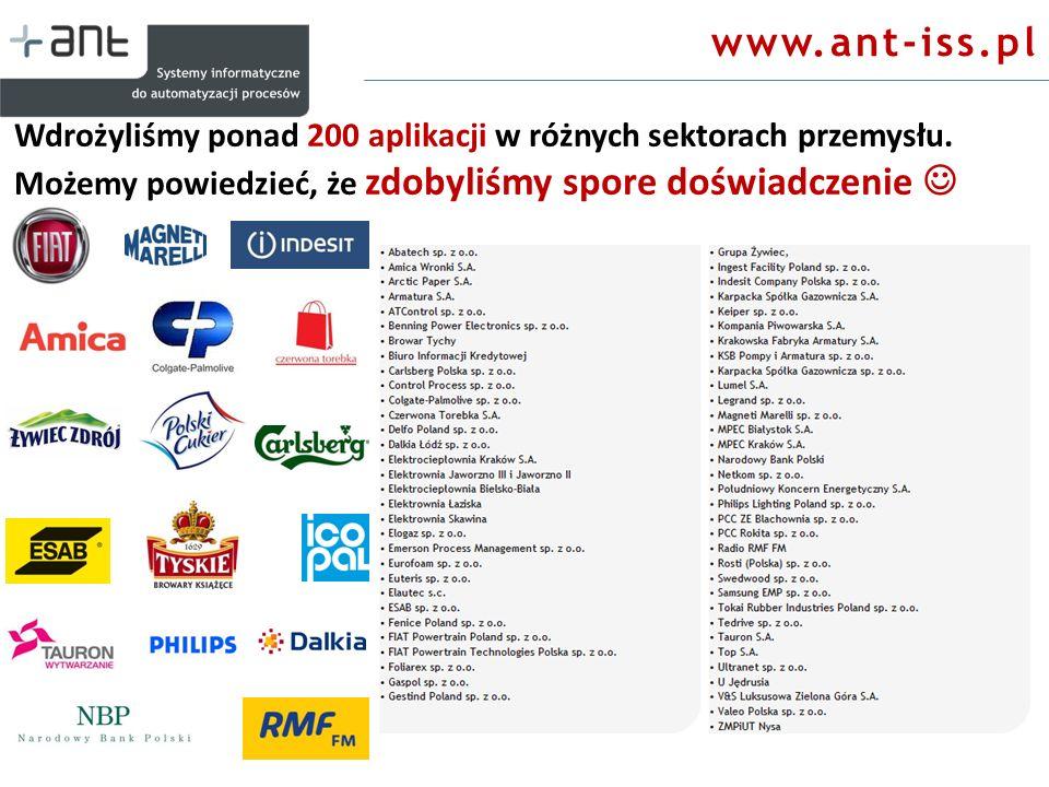www.ant-iss.pl Wdrożyliśmy ponad 200 aplikacji w różnych sektorach przemysłu.