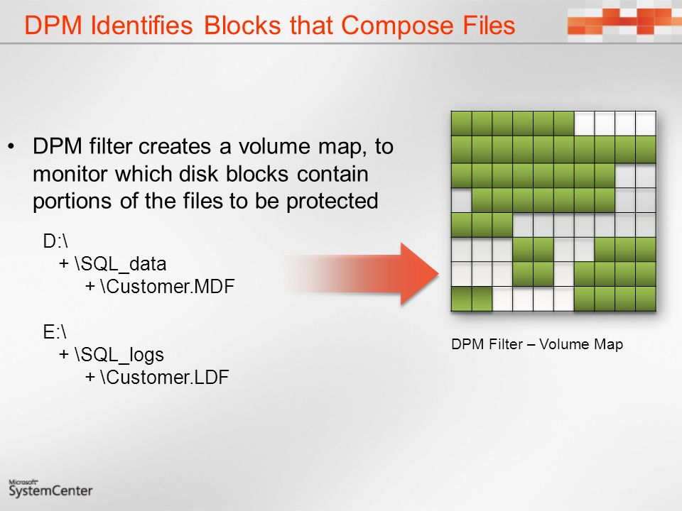 DPM Identifies Blocks that Compose Files