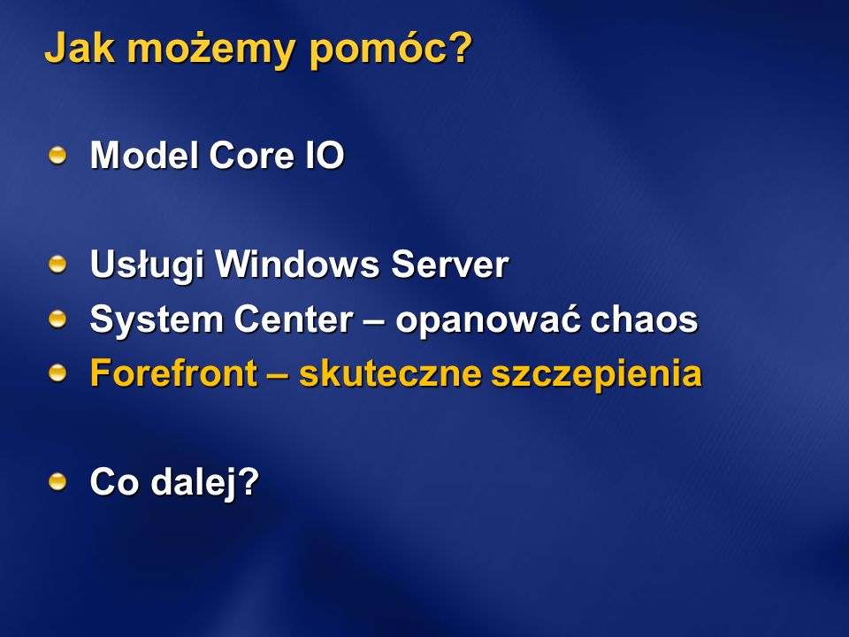 Jak możemy pomóc Model Core IO Usługi Windows Server