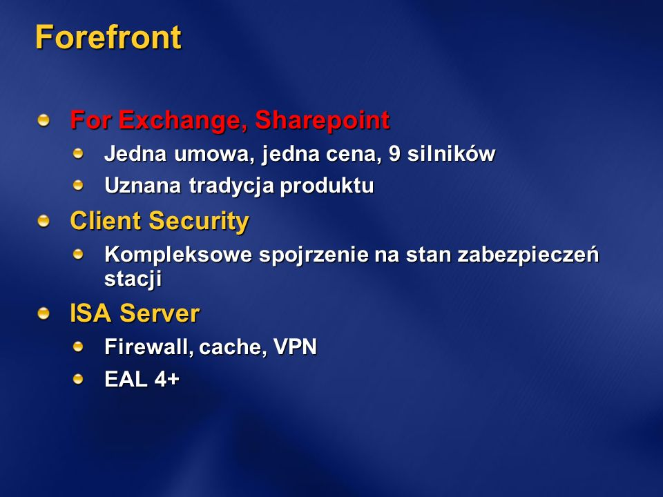 Forefront For Exchange, Sharepoint Client Security ISA Server