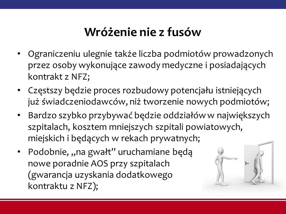 Wróżenie nie z fusów Ograniczeniu ulegnie także liczba podmiotów prowadzonych przez osoby wykonujące zawody medyczne i posiadających kontrakt z NFZ;