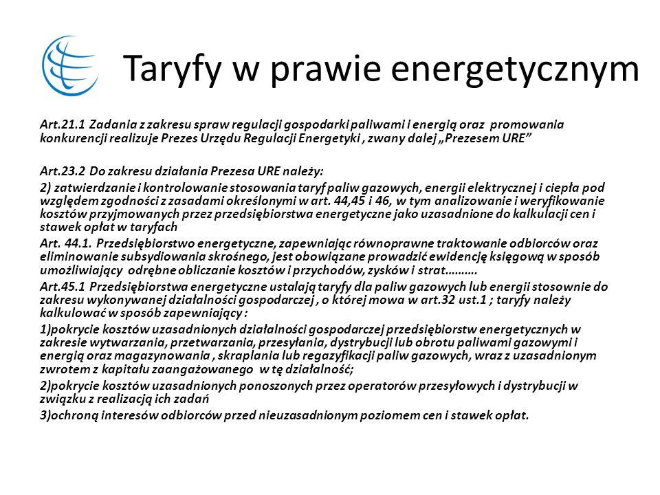 Taryfy w prawie energetycznym