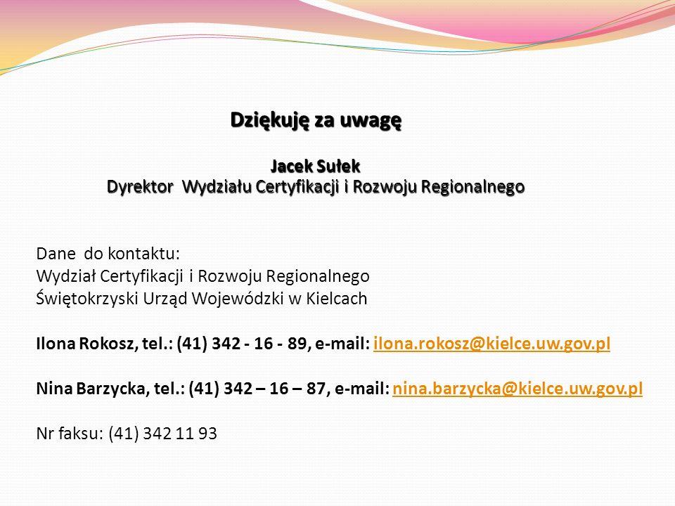Dziękuję za uwagę Jacek Sułek Dyrektor Wydziału Certyfikacji i Rozwoju Regionalnego