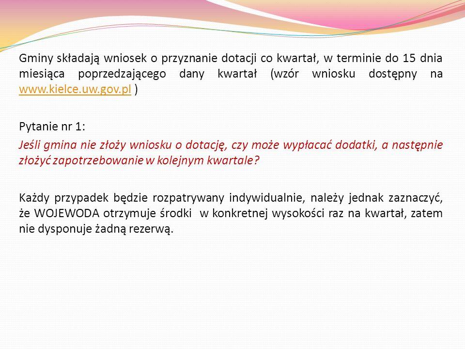Gminy składają wniosek o przyznanie dotacji co kwartał, w terminie do 15 dnia miesiąca poprzedzającego dany kwartał (wzór wniosku dostępny na www.kielce.uw.gov.pl )