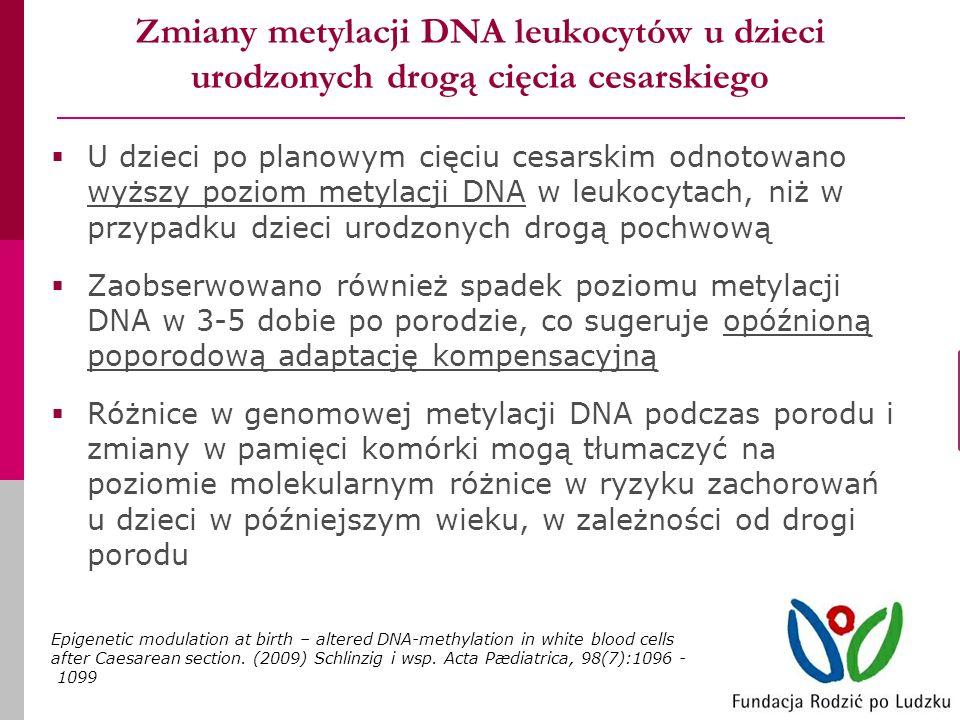 Zmiany metylacji DNA leukocytów u dzieci urodzonych drogą cięcia cesarskiego