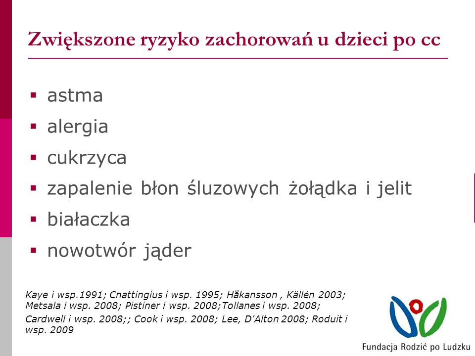 Zwiększone ryzyko zachorowań u dzieci po cc