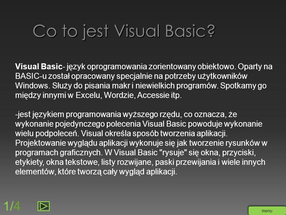 Co to jest Visual Basic 1/4
