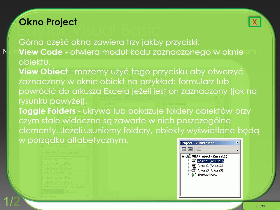 Edytor Visual Basic 1/2 Okno Project
