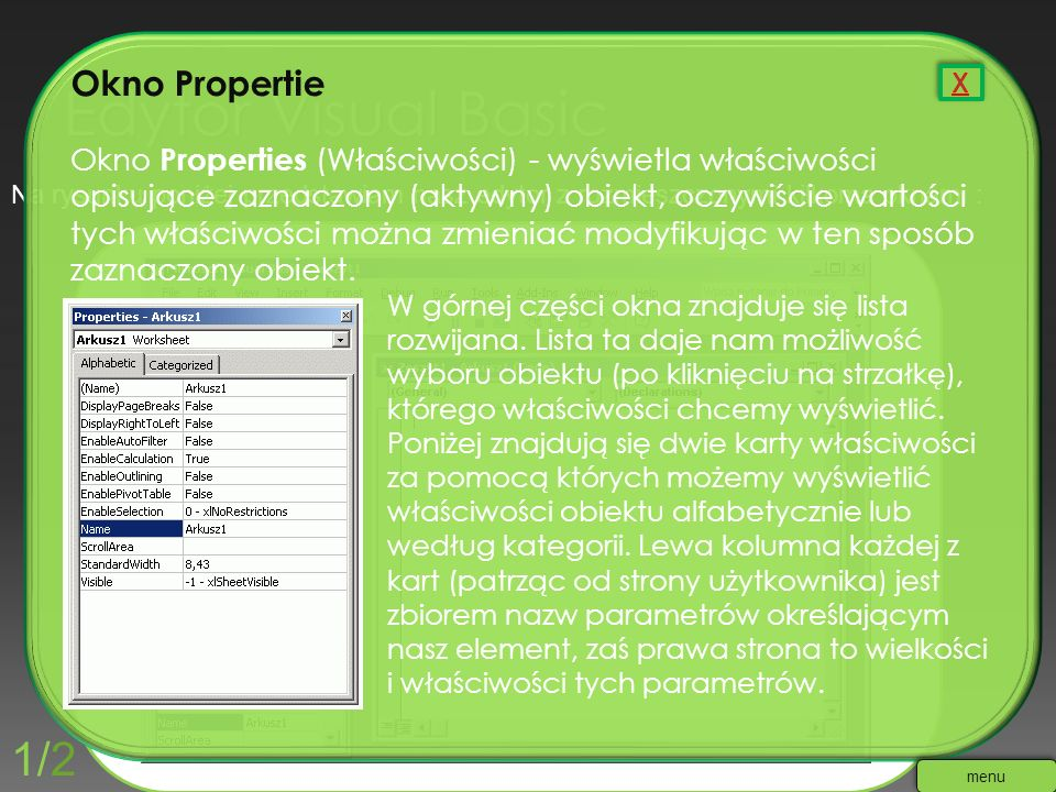 Edytor Visual Basic 1/2 Okno Propertie