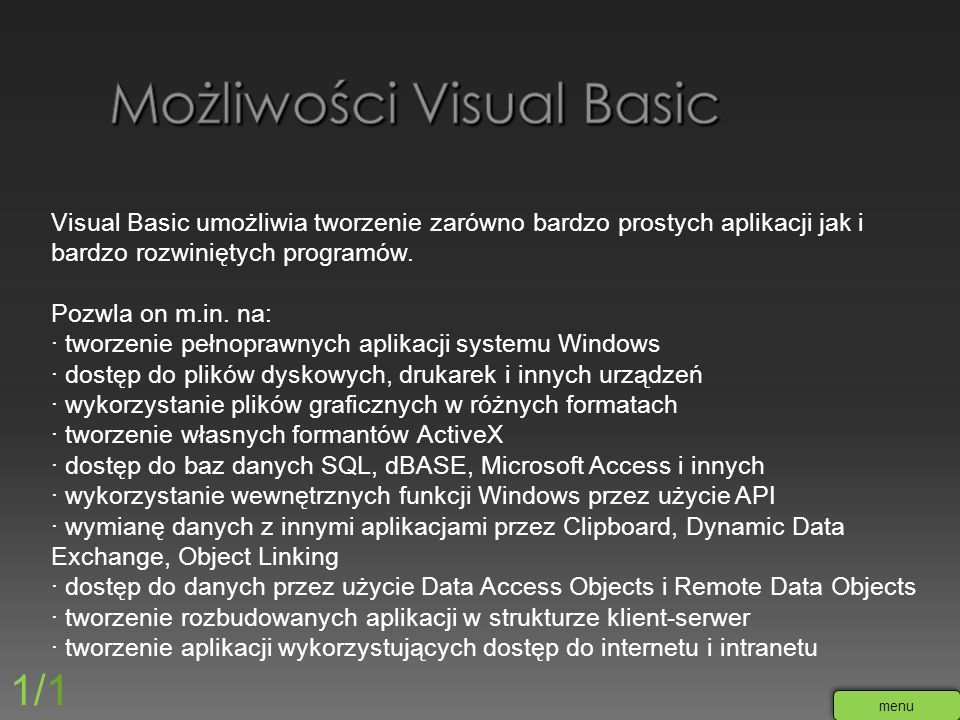 Możliwości Visual Basic